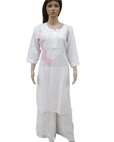 White Color Chikankari Pure Georgette Palazzo Suit