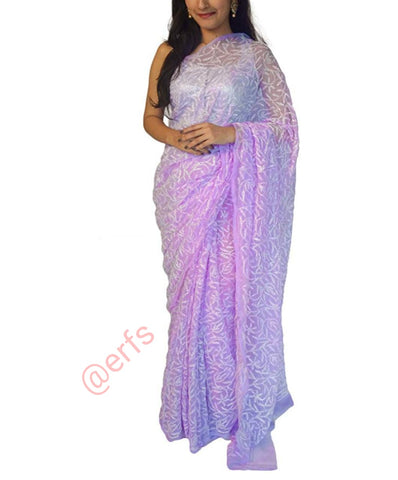 Light Purple Color Chikankari Faux Georgette Saree