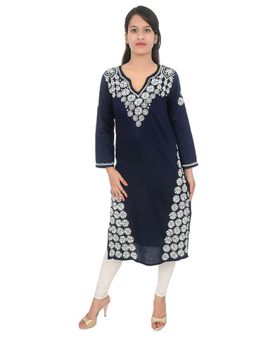 Black Color Chikankari Pure Georgette Kurti