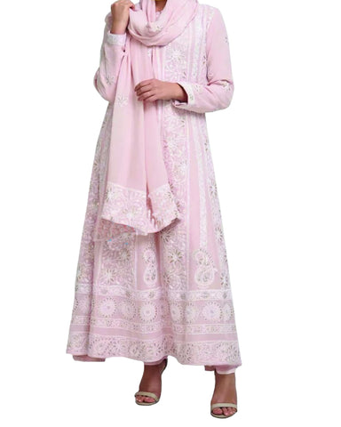 Light Pink Color Chikankari With Gotta Patti Pure Georgette Anarkali suit