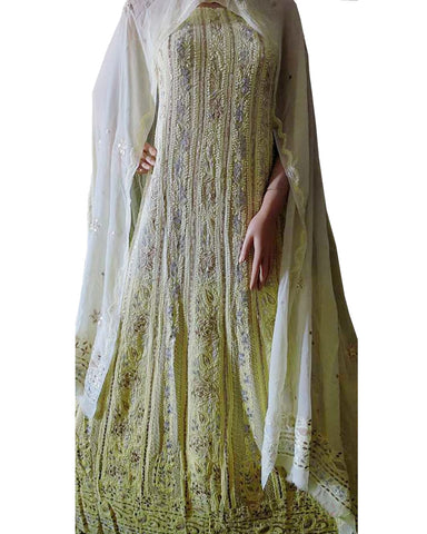 Light Yellow Color Chikankari With Gotta Patti Pure Georgette Anarkali suit
