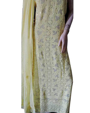 Light Yellow Color Chikankari With Gotta Patti Pure Georgette Palazzo suit