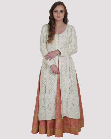 White Color Chikankari Faux Georgette & Silk Lehenga