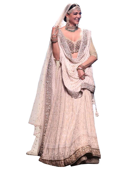 White Color Chikankari Faux Georgette Bollywood Lehenga