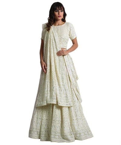 Cream Color Chikankari Faux Georgette Bollywood Lehenga