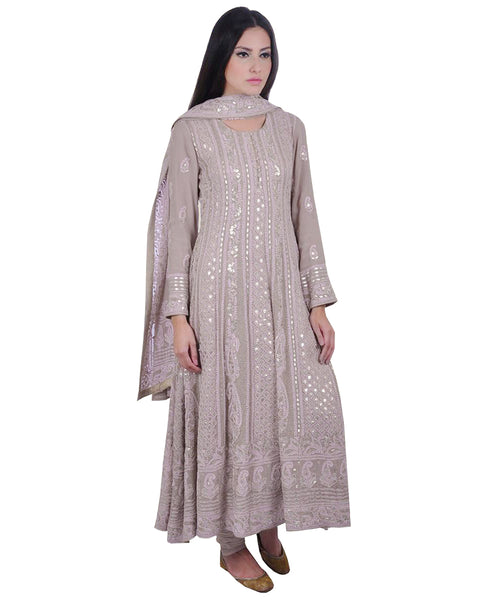 Grey Color Chikankari With Gotta Patti Pure Georgette Anarkali Suit