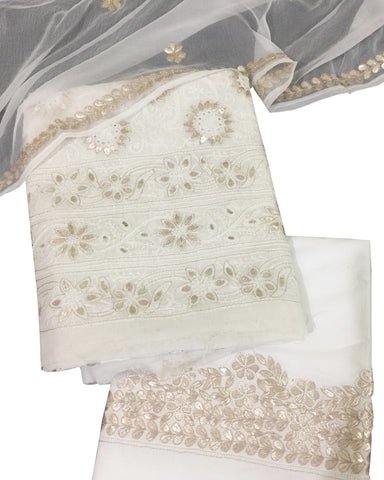 White Color Chikankari And Gotta Work Cotton Suit