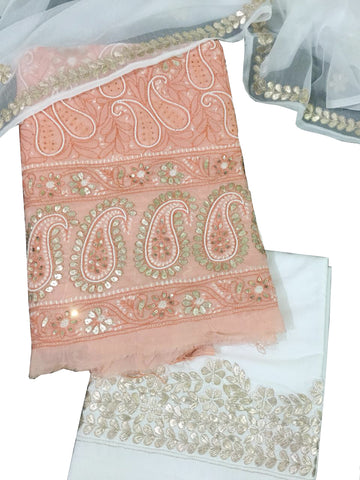 Peach And White Color Chikankari And Gotta Work Cotton Suit