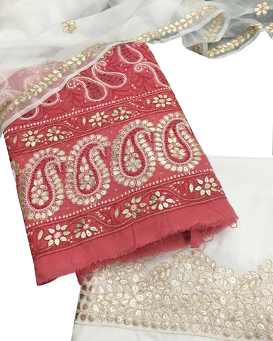 Maroon And White Color Chikankari And Gotta Work Cotton Suit