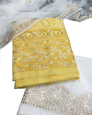 Yellow And White Color Chikankari And Gotta Work Cotton Suit