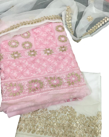 Light Pink And White Color Chikankari And Gotta Work Cotton Suit