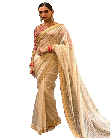 Deepika Padukone White Color Net Saree