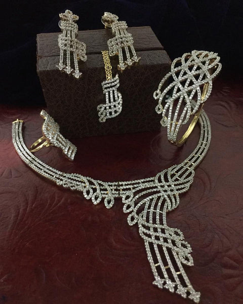 Gold Finished Crystal Stone Choker Set