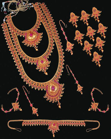 Pota Stone Copper Bridal Jewellery Set