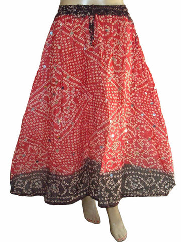 Red Bandhej Skirt