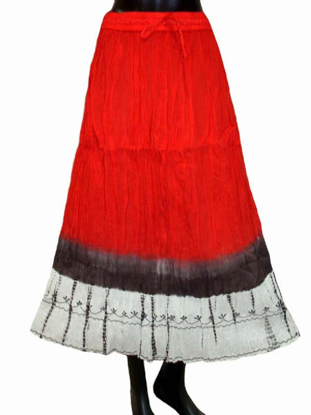 Ethnic Cotton Cambric Red & Black Tie Dye Skirt
