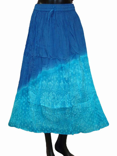 Ethnic Cotton Cambric Blue Tie Dye Skirt