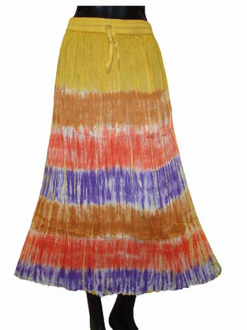 Ethnic Cotton Cambric Multi color Tie Dye Skirt