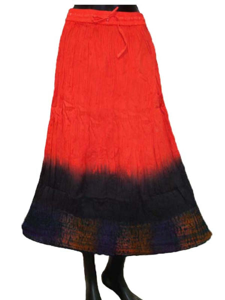 Ethnic Cotton Cambric Red Tie Dye Skirt