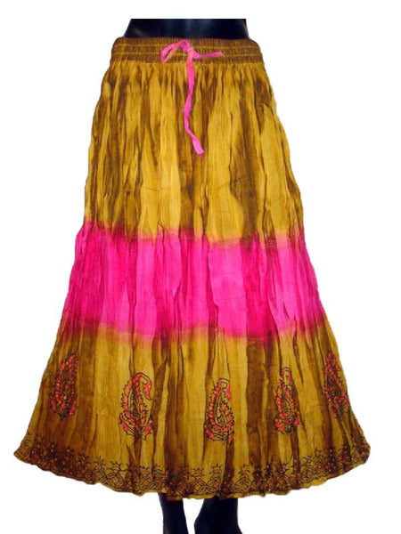 Ethnic Cotton Cambric Brown Tie Dye Skirt