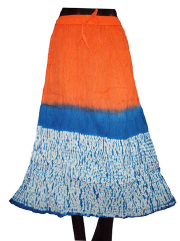 Orange Ethnic Cotton Cambric Tie Dye Skirt