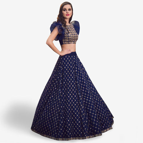 Fantastic Dark Blue Colored Partywear Embroidered Satin Lehenga Choli