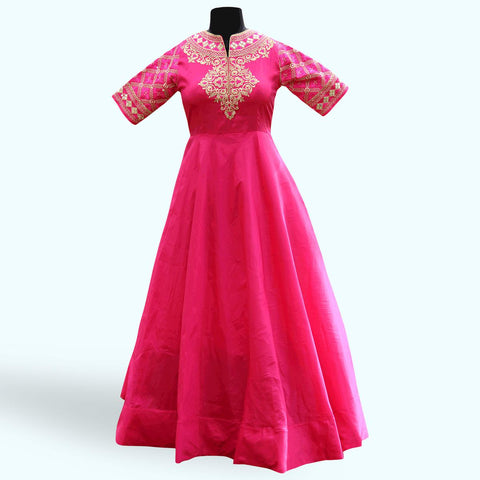 Gharming Pink Colored Partywear Embroidered Soft Tapeta Silk Gown