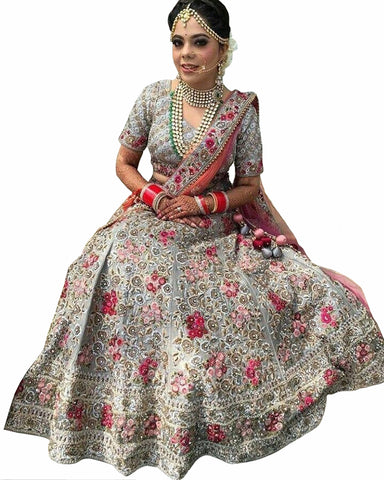 Grey Color Tissue Net Lehenga
