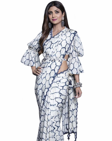 shilpa shetty White Color Printed Georgette Saree