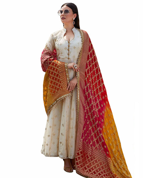 Off White Colored Party Wear Chanderi Silk Anarkali Suit