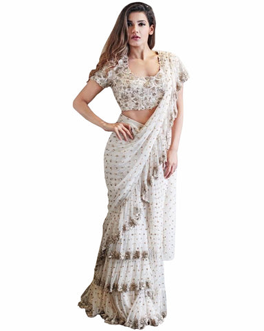 White Colour With Ruffle Saree