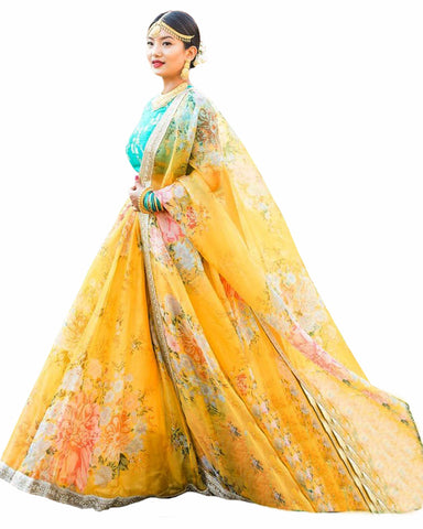 Yellow Colour Printed Georgette Lehenga