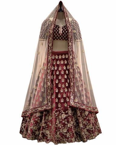 Mahroon Color Wedding Lehenga
