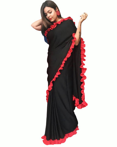 Black Color Heavy Quality Georgette With Ribbon Border Lace Saree