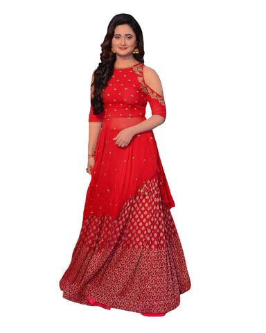 Red Taffeta Silk Floor Length lehenga