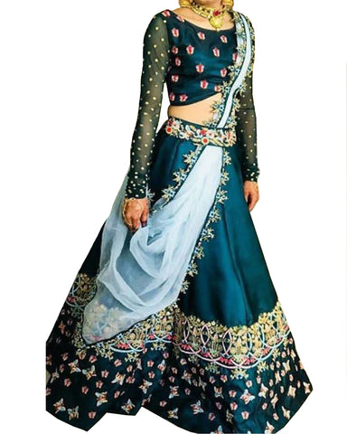 Rama Blue Bangalore Satin Silk Lehenga