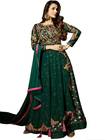 Dark Green Faux Georgette PartyWear Anarkali Women Salwar Suits