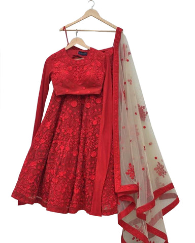 Red And White Color Designer Lehenga