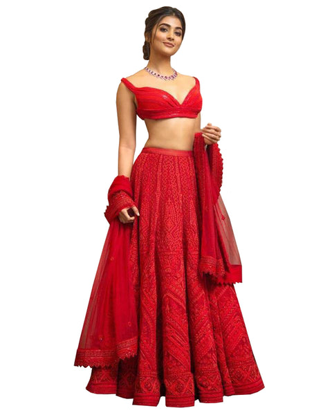 Red Color Designer Net Lehenga