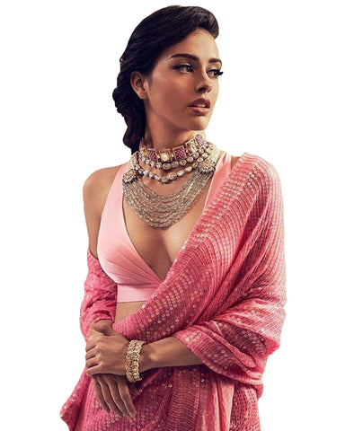 Light Pink Color Havy Georgette Embroidery Sequence Work Saree