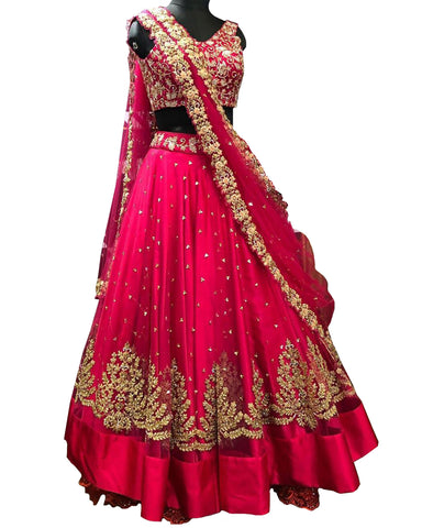Red Color Designer Lehenga