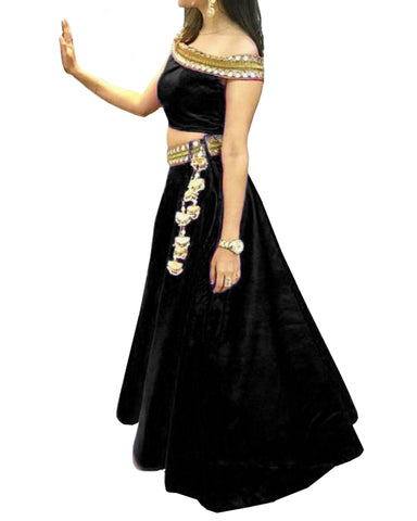 Black Color Designer Velvet Lehenga