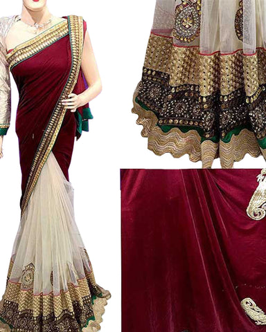 Designer white-Red Color Saree