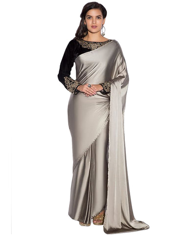 Grey Color Satin Saree