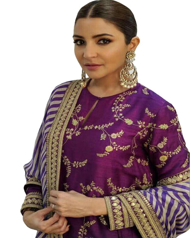 Purple Taffeta Silk With Fully Embroidery long Suit