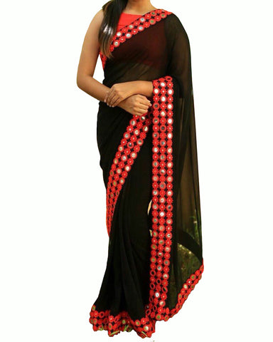 Exquisite Black Georgette Mirror Work Saree