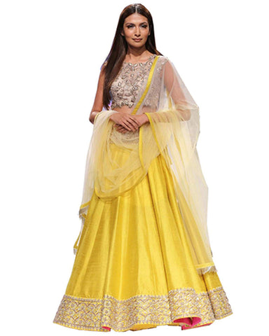 Yellow Bangalore Silk Circular Lehenga