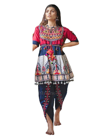 Blue Color Designer Heavy Soft Cotton Ethnic Top With Tulip Pants