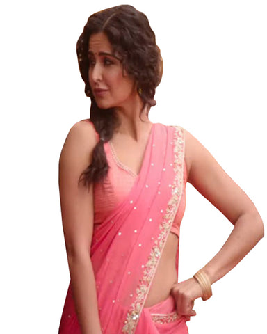 Peach Color Georgette Katrina Sari