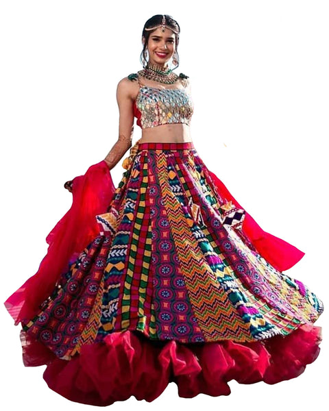 Navratri Special Red And Multi Color Traditional Chaniya Choli